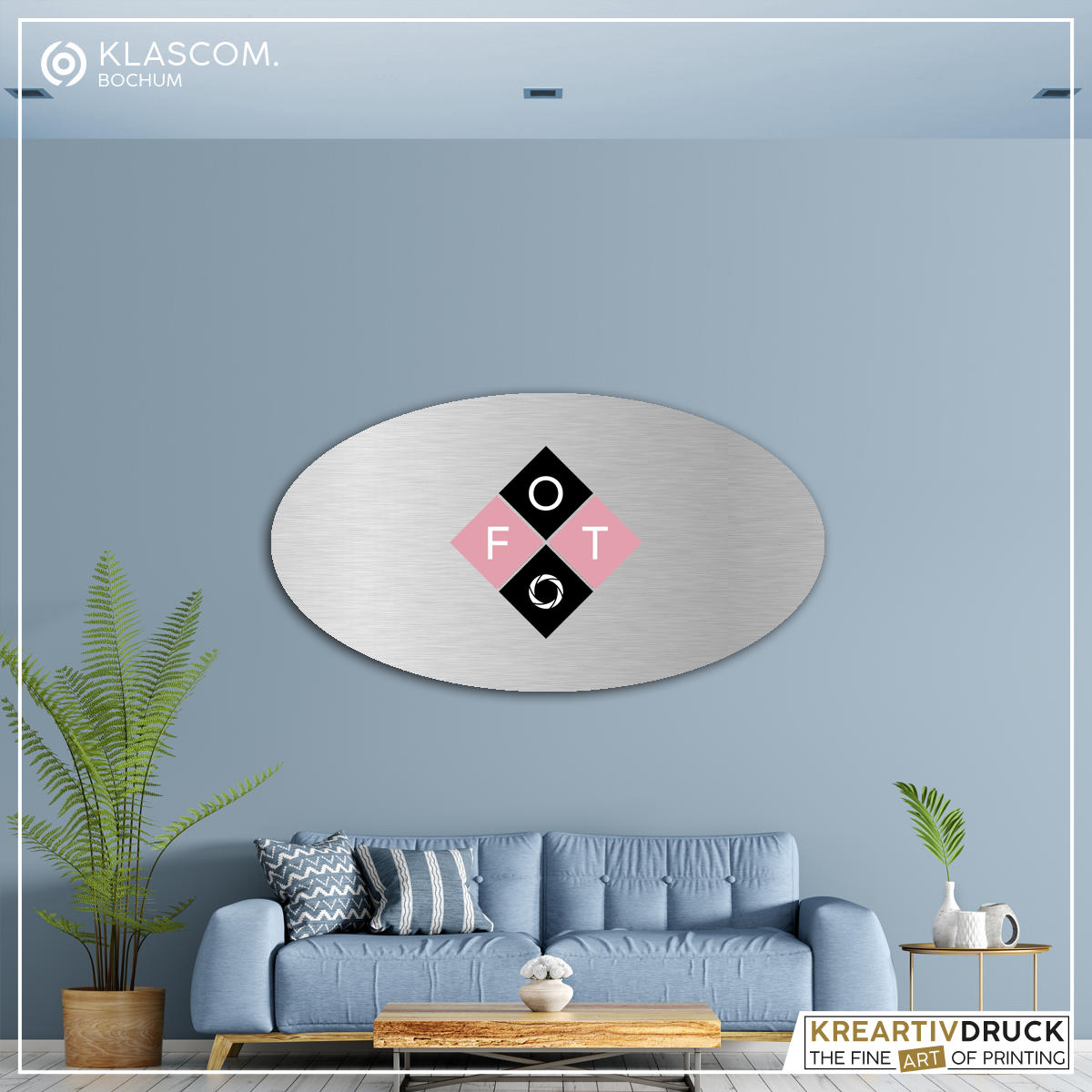 Aluminium Verbund-Platte, oval mit Foto bedrucken lassen