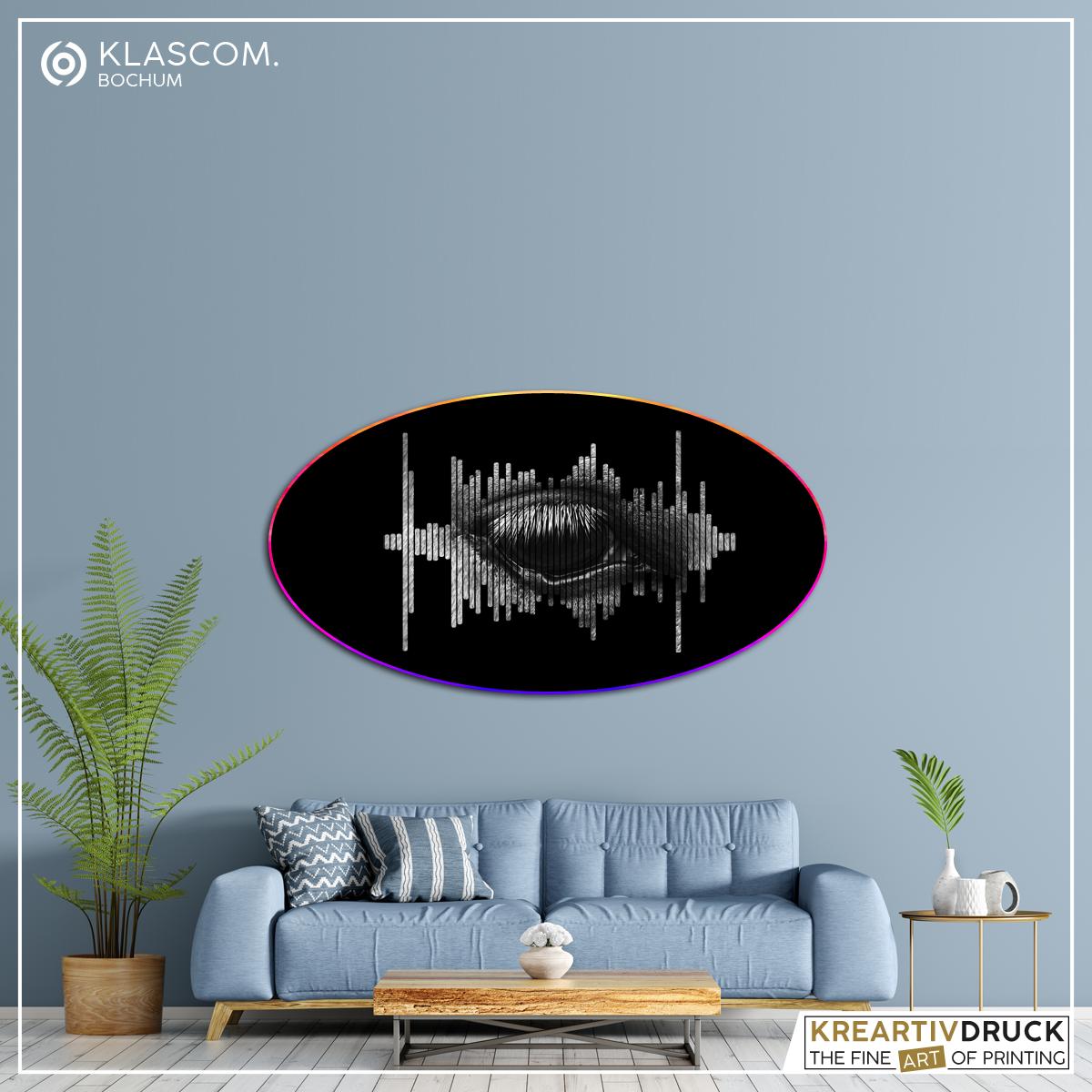 Audiovisual Board SRO, Aluminium-Verbundplatte, oval, farbiger Hintergrund